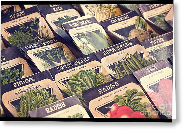 Radishes Greeting Cards - Vintage Seed Packages Greeting Card by Edward Fielding