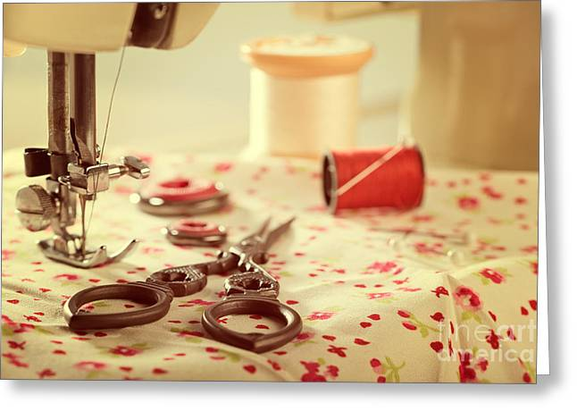 Sewing Hobby Greeting Cards - Vintage Sewing Items Greeting Card by Amanda And Christopher Elwell