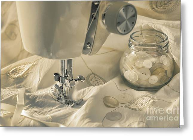 Sewing Hobby Greeting Cards - Vintage Sewing Machine Greeting Card by Amanda And Christopher Elwell