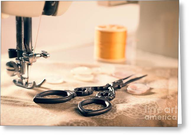 Scissors Greeting Cards - Vintage Sewing Machine Greeting Card by Amanda And Christopher Elwell