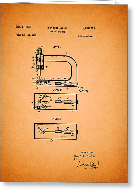 Vintage Sewing Machine Patent Greeting Card by Mountain Dreams
