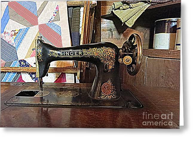 Vintage Sewing Machine Greeting Card by Patricia Januszkiewicz