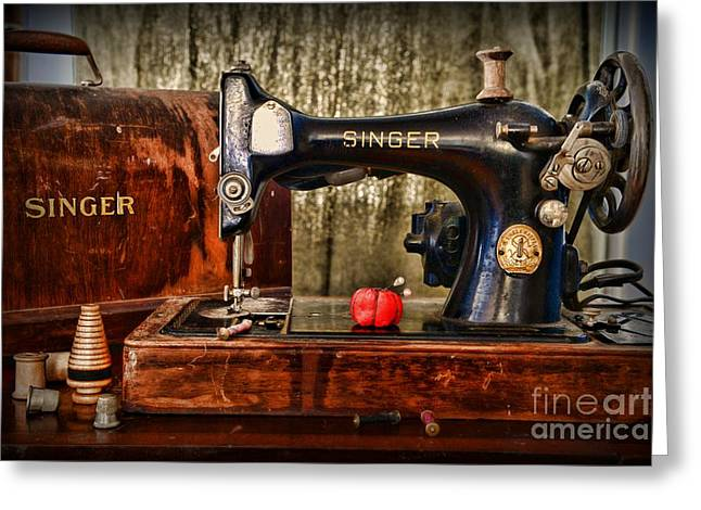 Sewing Hobby Greeting Cards - Vintage Sewing Machine Greeting Card by Paul Ward