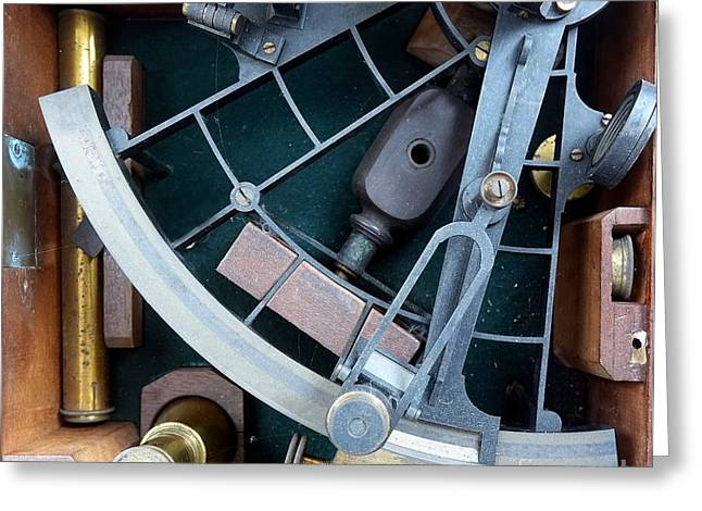 Number Circle Greeting Cards - Vintage Sextant for Navigation Greeting Card by Yali Shi