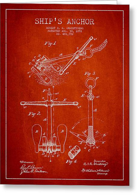 Anchored Greeting Cards - Vintage ship Anchor patent from 1892 Greeting Card by Aged Pixel