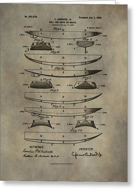 Boat Mixed Media Greeting Cards - Vintage Ship Hull Patent Greeting Card by Dan Sproul