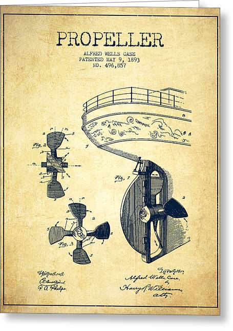 Propeller Greeting Cards - Vintage ship propeller patent from 1893 - Vintage Greeting Card by Aged Pixel