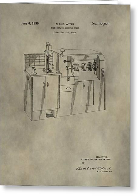 Shoe Repair Greeting Cards - Vintage Shoe Repair Machine Patent Greeting Card by Dan Sproul