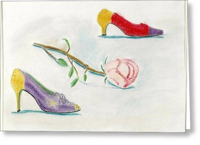 1980s Pastels Greeting Cards - Vintage Shoes with Rose Greeting Card by Carmela Cattuti