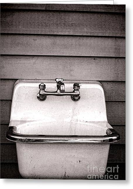 Vintage Wall Greeting Cards - Vintage Sink Greeting Card by Olivier Le Queinec