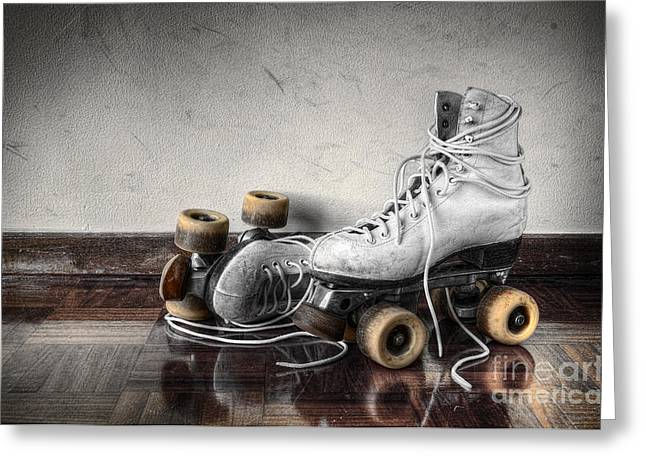 Vintage Wall Greeting Cards - Vintage Skates Greeting Card by Carlos Caetano