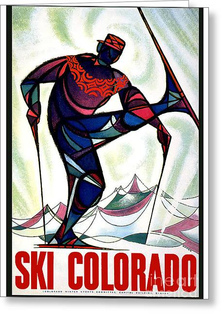 Skiing Poster Greeting Cards - Vintage Ski Colorado Travel Poster Greeting Card by Jon Neidert