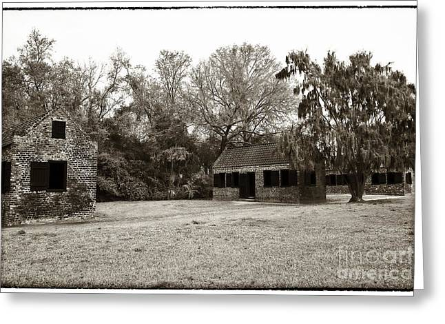 Brown Tones Greeting Cards - Vintage Slave Quarters Greeting Card by John Rizzuto