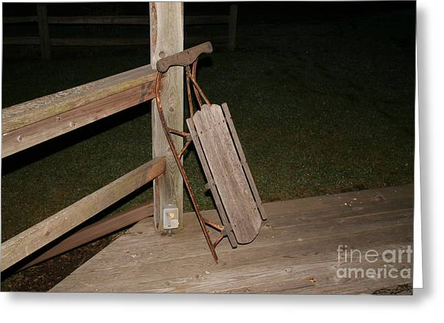 Runner Greeting Cards - Vintage Sled on Log Cabin Porch Greeting Card by Amelia Painter