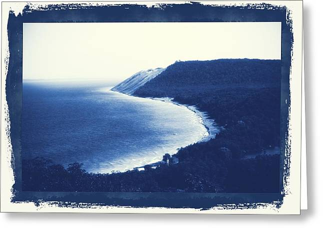 Blue Green Wave Greeting Cards - Vintage Sleeping Bear Dunes Greeting Card by Dan Sproul