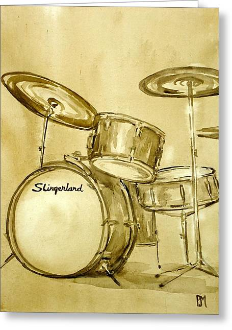 Music Drawings Greeting Cards - Vintage Slingers Greeting Card by Pete Maier