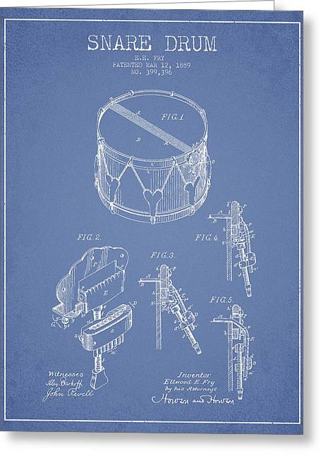 Snare Greeting Cards - Vintage Snare Drum Patent Drawing from 1889 - Light Blue Greeting Card by Aged Pixel
