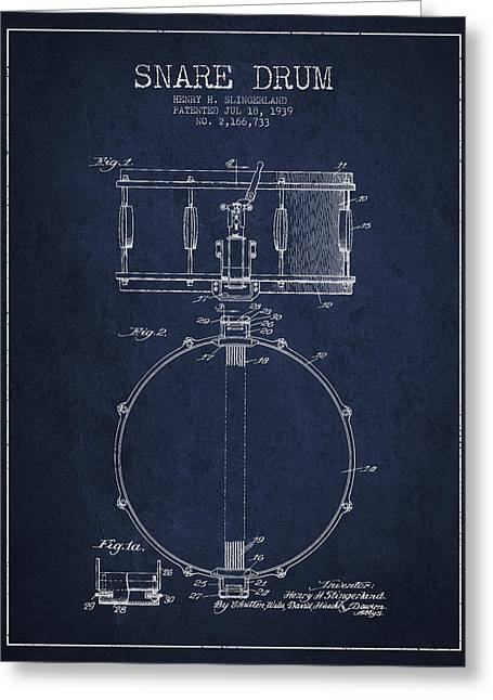 Snare Greeting Cards - Snare Drum Patent Drawing from 1939 - Blue Greeting Card by Aged Pixel