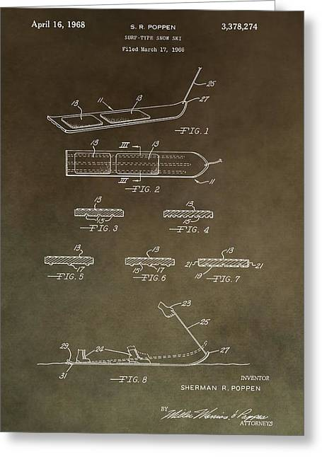 Freestyle Skiing Greeting Cards - Vintage Snowboard Patent Greeting Card by Dan Sproul