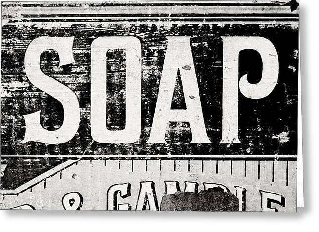 Lisa Russo Greeting Cards - Vintage Soap Crate in Black and White Greeting Card by Lisa Russo