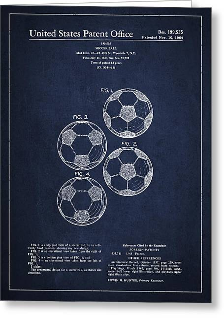 Properties Greeting Cards - Vintage Soccer Ball Patent Drawing from 1964 Greeting Card by Aged Pixel