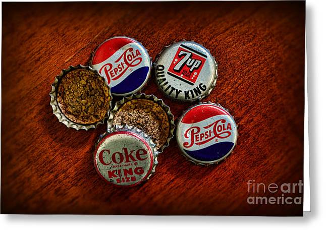 Vintage Soda Bottle Caps Greeting Card by Paul Ward