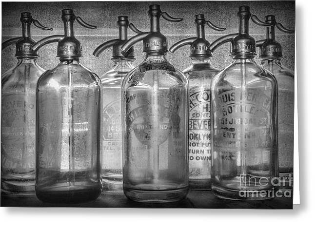 Fine Bottle Greeting Cards - Vintage Soda Bottles in Black and White Greeting Card by Paul Ward