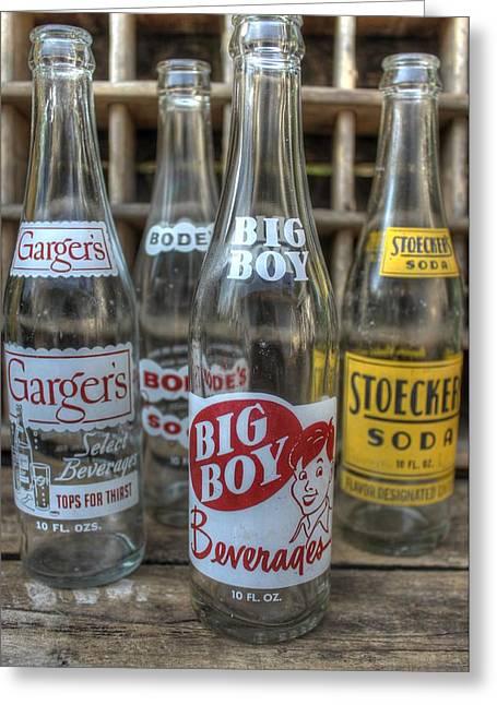 Soda Bottles Greeting Cards - Vintage Soda Bottles Greeting Card by Jane Linders