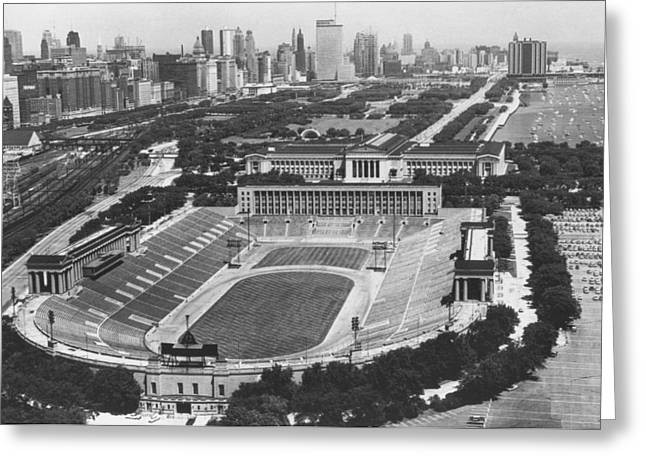 Vintage Greeting Cards - Vintage Soldier Field - Chicago Bears Stadium Greeting Card by Horsch Gallery