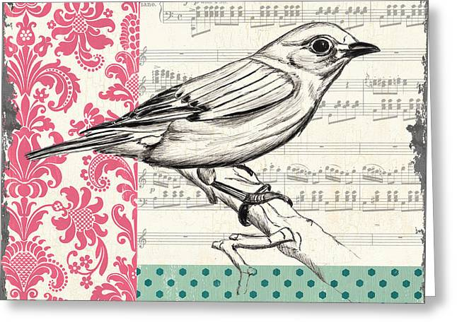 Blooming Paintings Greeting Cards - Vintage Songbird 1 Greeting Card by Debbie DeWitt