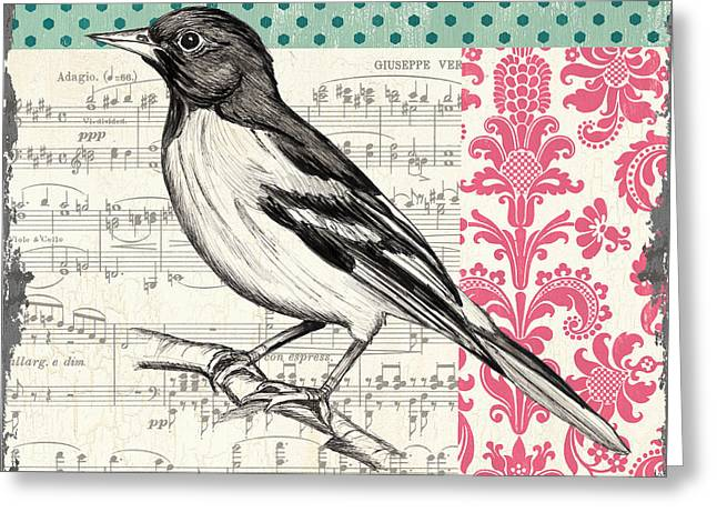 Blooming Paintings Greeting Cards - Vintage Songbird 2 Greeting Card by Debbie DeWitt