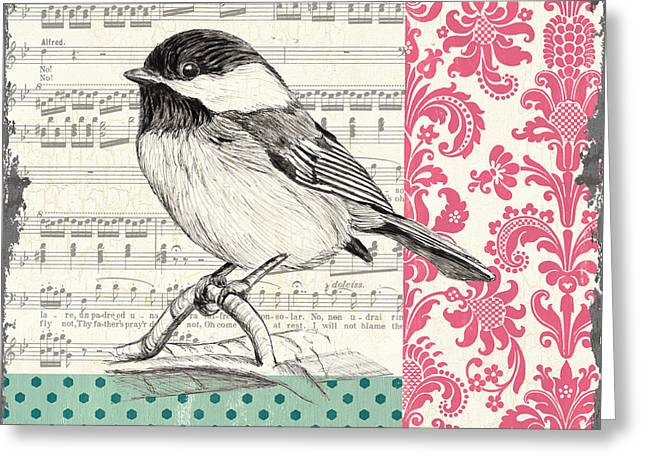Season Paintings Greeting Cards - Vintage Songbird 3 Greeting Card by Debbie DeWitt