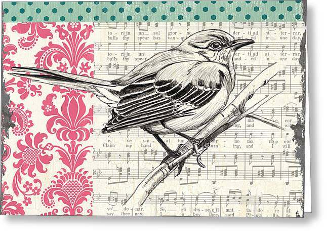 Blooming Paintings Greeting Cards - Vintage Songbird 4 Greeting Card by Debbie DeWitt