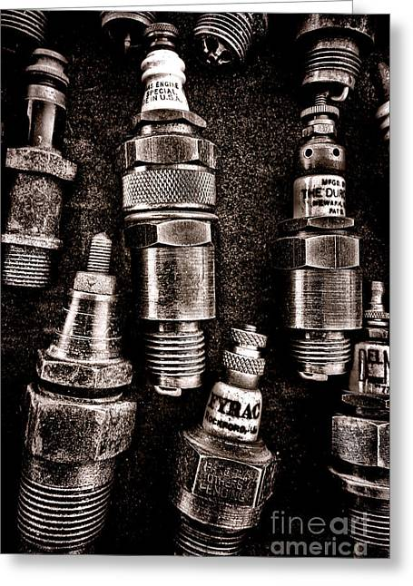 Electrical Plug Greeting Cards - Vintage Spark Plugs Greeting Card by Olivier Le Queinec