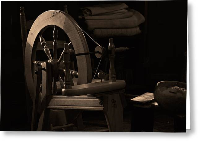 Vintage Spinning Wheel Greeting Card by Eugene Campbell