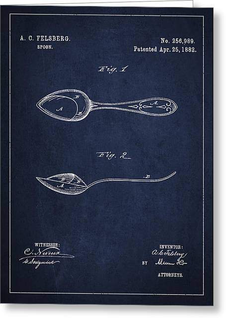 Spoon Greeting Cards - Vintage Spoon Patent Drawing from 1882 Greeting Card by Aged Pixel