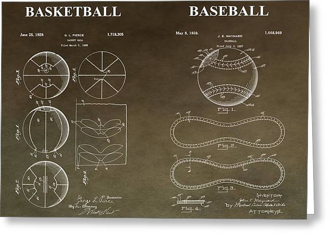 Slamdunk Greeting Cards - Vintage Sports Patent Greeting Card by Dan Sproul