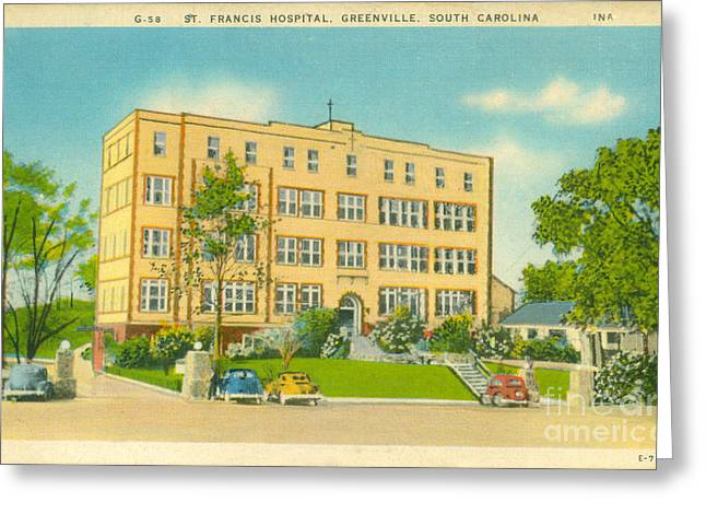 14th July Greeting Cards - Vintage St. Francis Hospital Postcard Greeting Card by Dale Powell