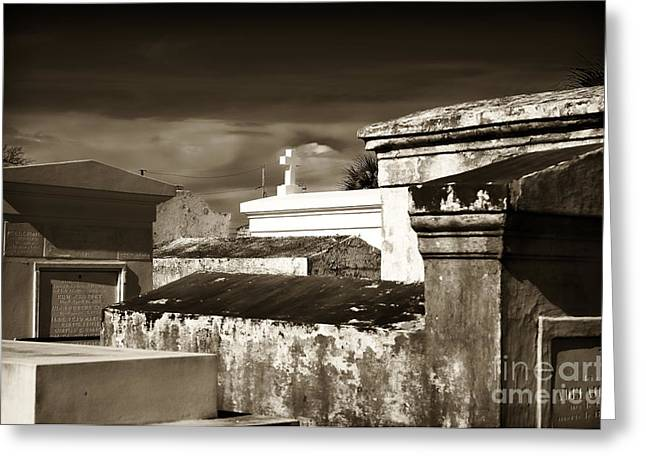 St. Louis Artist Greeting Cards - Vintage St. Louis Cemetery Greeting Card by John Rizzuto
