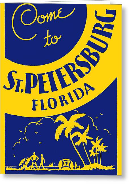 St Petersburg Florida Paintings Greeting Cards - Vintage St. Petersburg Florida Poster Greeting Card by Historic Image