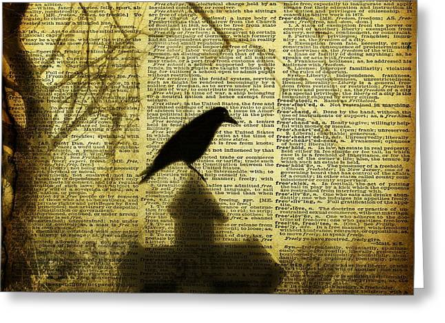 Crow Collage Greeting Cards - Vintage Stain Greeting Card by Gothicolors Donna Snyder