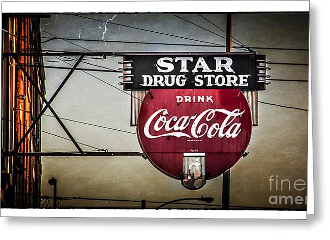 Vintage Star Drug Store Greeting Card by Perry Webster