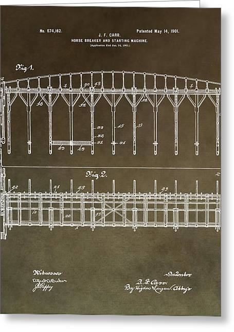 Belmont Stakes Greeting Cards - Vintage Starting Gate Patent Greeting Card by Dan Sproul