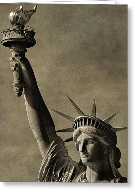 National Anthem Greeting Cards - Vintage Statue Of Liberty Greeting Card by Dan Sproul