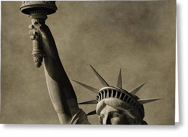 Vintage Statue Of Liberty Greeting Card by Dan Sproul