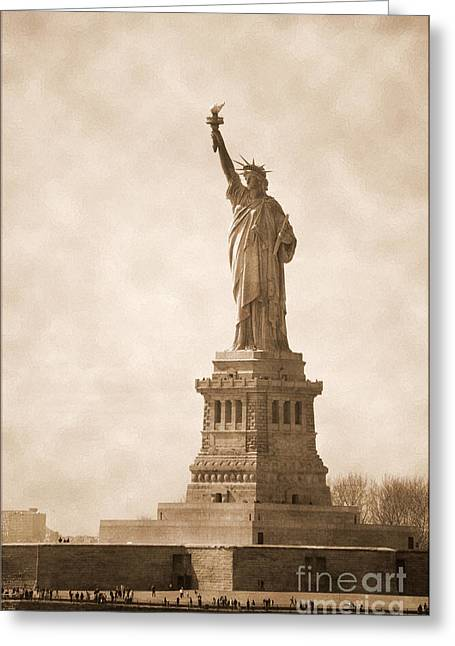 City Skylines Greeting Cards Greeting Cards - Vintage statue of Liberty Greeting Card by RicardMN Photography
