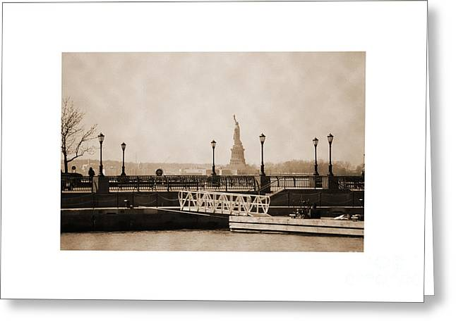 City Skylines Greeting Cards Greeting Cards - Vintage statue of Liberty view Greeting Card by RicardMN Photography