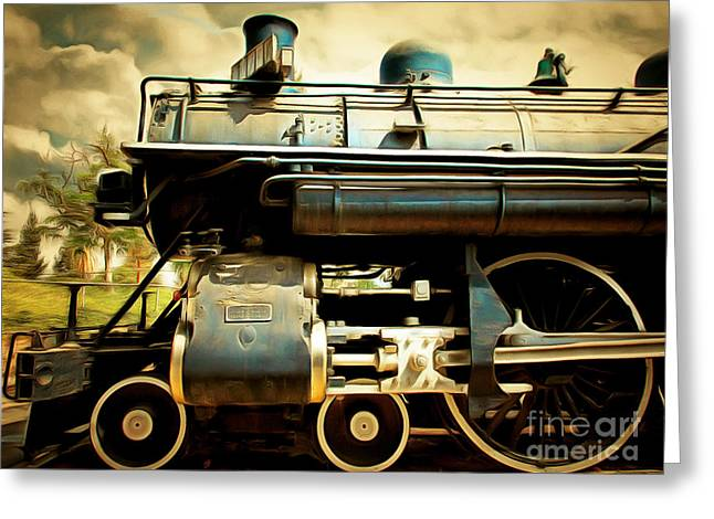 Stream Digital Art Greeting Cards - Vintage Steam Locomotive 5D29112brun Greeting Card by Wingsdomain Art and Photography