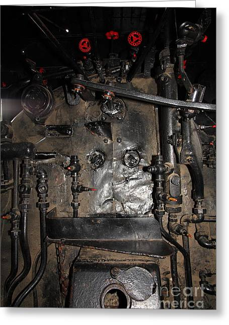 Road Crew Greeting Cards - Vintage Steam Locomotive Cab Compartment 5D29253 Greeting Card by Wingsdomain Art and Photography