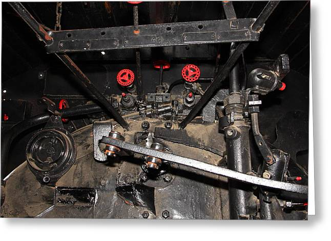Road Crew Greeting Cards - Vintage Steam Locomotive Cab Compartment 5D29254 square Greeting Card by Wingsdomain Art and Photography